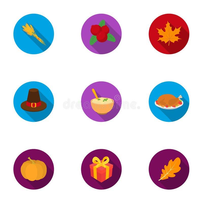 Iconos determinados del día canadiense de la acción de gracias en estilo plano Colección grande de acción canadiense del símbolo  stock de ilustración