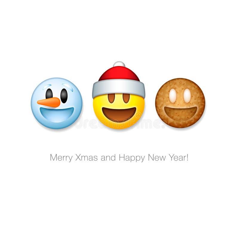 Iconos determinados del emoticon del día de fiesta, símbolo del emoji de la Navidad libre illustration