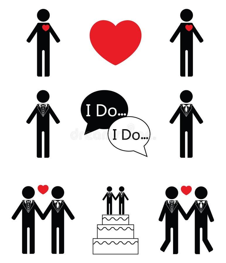 Iconos determinados del icono t de la boda del hombre gay libre illustration
