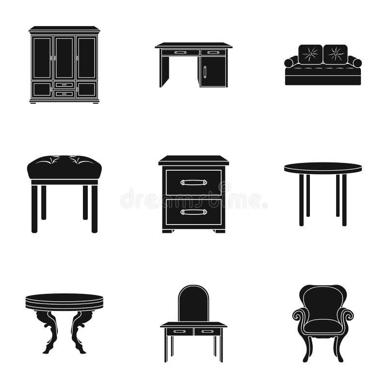 Iconos determinados del interior de los muebles y del hogar en estilo negro Colección grande de interior de los muebles y del hog ilustración del vector