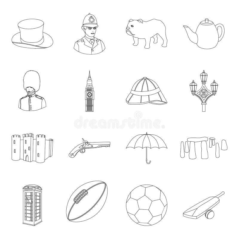 Iconos determinados del país de Inglaterra en estilo del esquema Colección grande de símbolo del vector del país de Inglaterra libre illustration