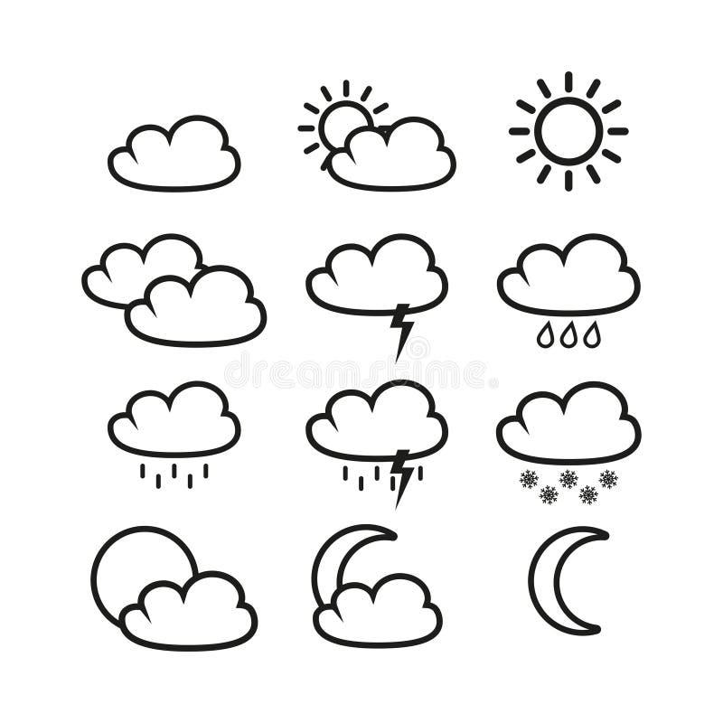 Iconos determinados del tiempo stock de ilustración
