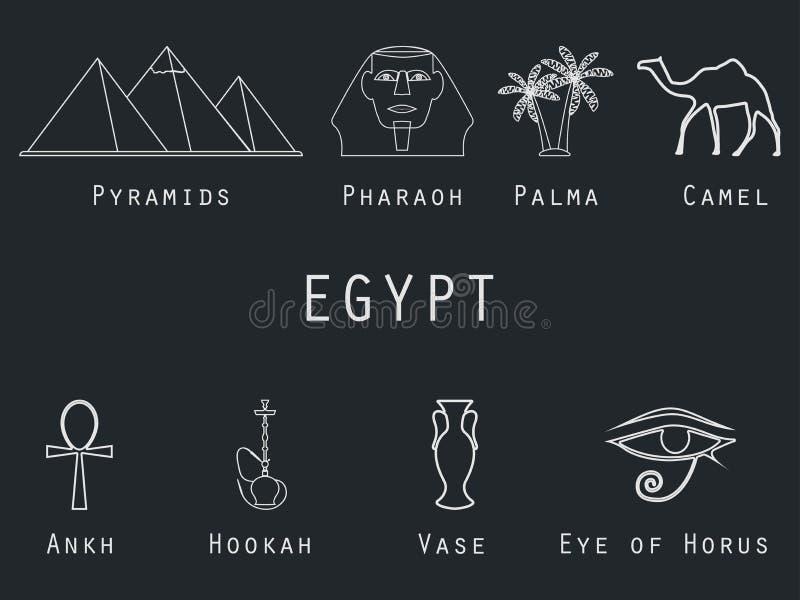Iconos determinados del vector del egipcio en un estilo linear Atracciones y símbolos egipcios tradicionales stock de ilustración
