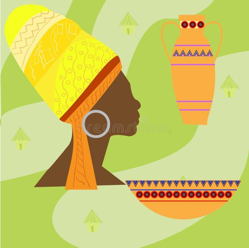 Iconos determinados del vector del safari de África Objetos rituales stock de ilustración