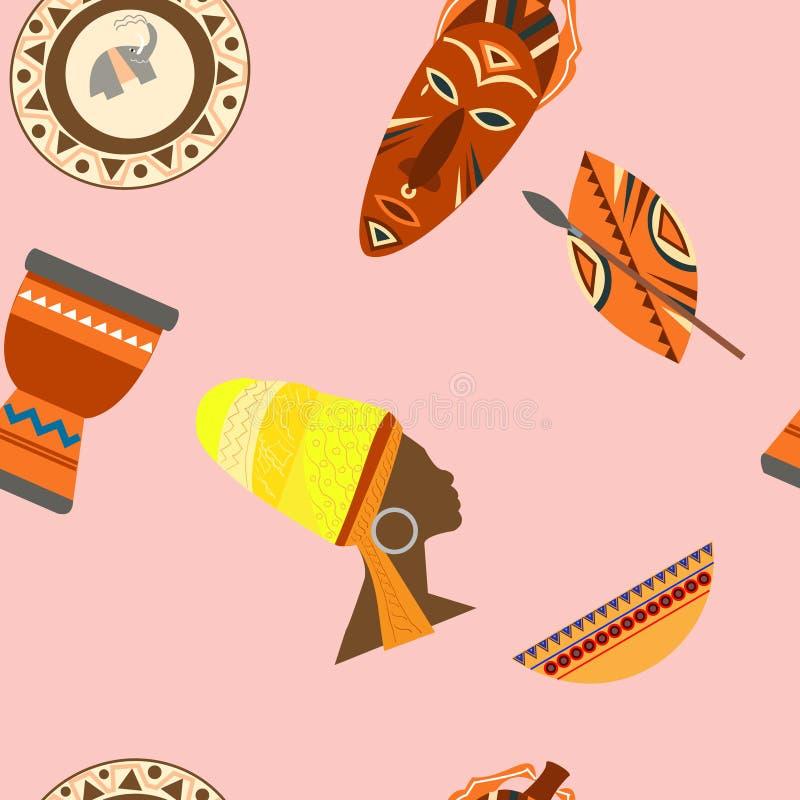 Iconos determinados del vector del safari de África Objetos y tradicional rituales libre illustration