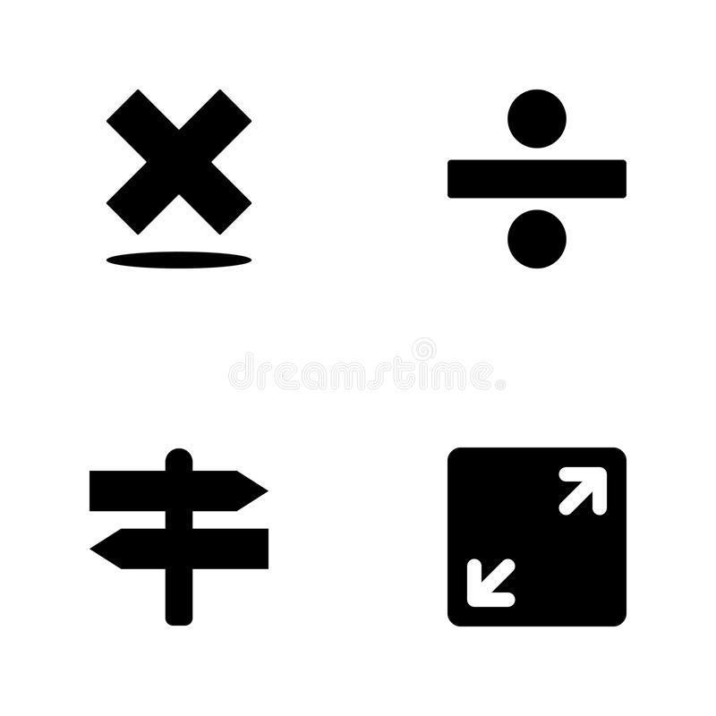 Iconos determinados del web del ejemplo del vector Los elementos abren la muestra, cruces, el signo de división y el icono de la  ilustración del vector