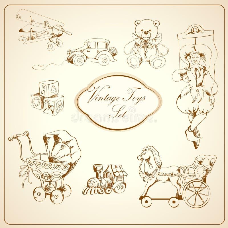 Iconos dibujados juguetes retros fijados ilustración del vector