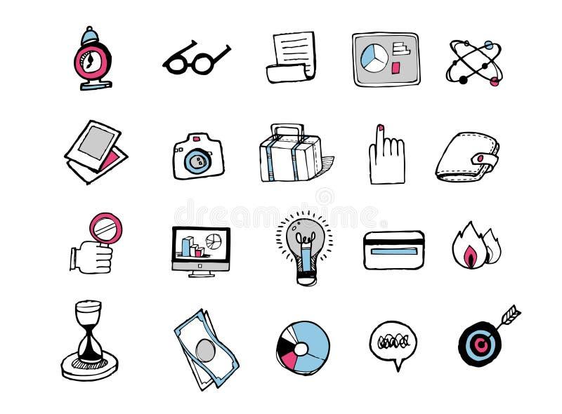 Iconos dibujados mano 001 stock de ilustración