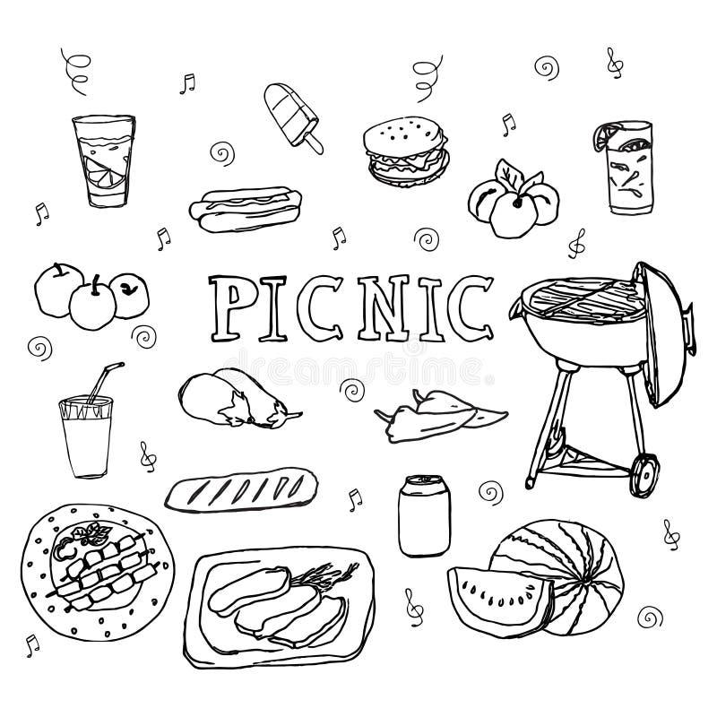 Iconos dibujados mano de la comida campestre del garabato fijados ilustración del vector