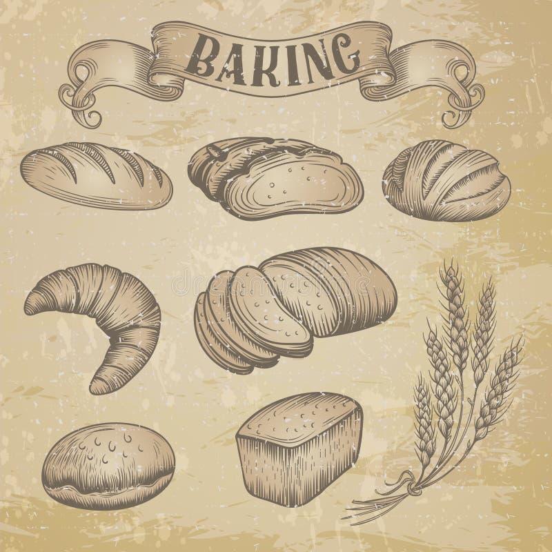 Iconos dibujados mano de la panadería fijados ilustración del vector