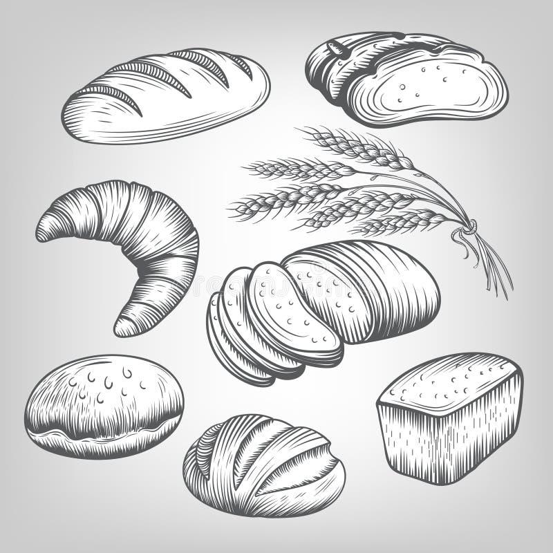 Iconos dibujados mano de la panadería fijados stock de ilustración