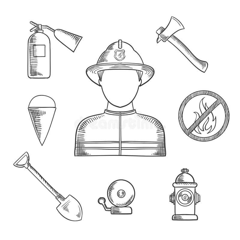 Iconos dibujados mano del bosquejo de la profesión del bombero stock de ilustración