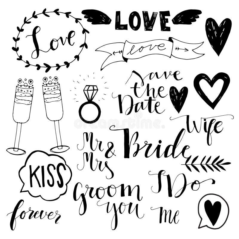Iconos dibujados mano del garabato de la boda libre illustration