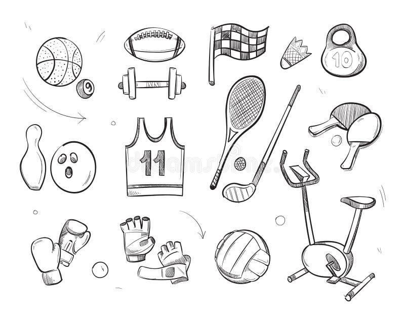 Iconos dibujados mano del garabato del vector del equipo de la aptitud de los deportes del bosquejo ilustración del vector