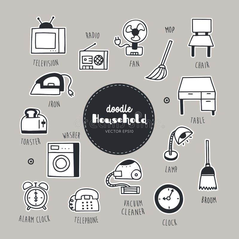 Iconos dibujados mano del garabato del postre del hogar fijados ilustración del vector
