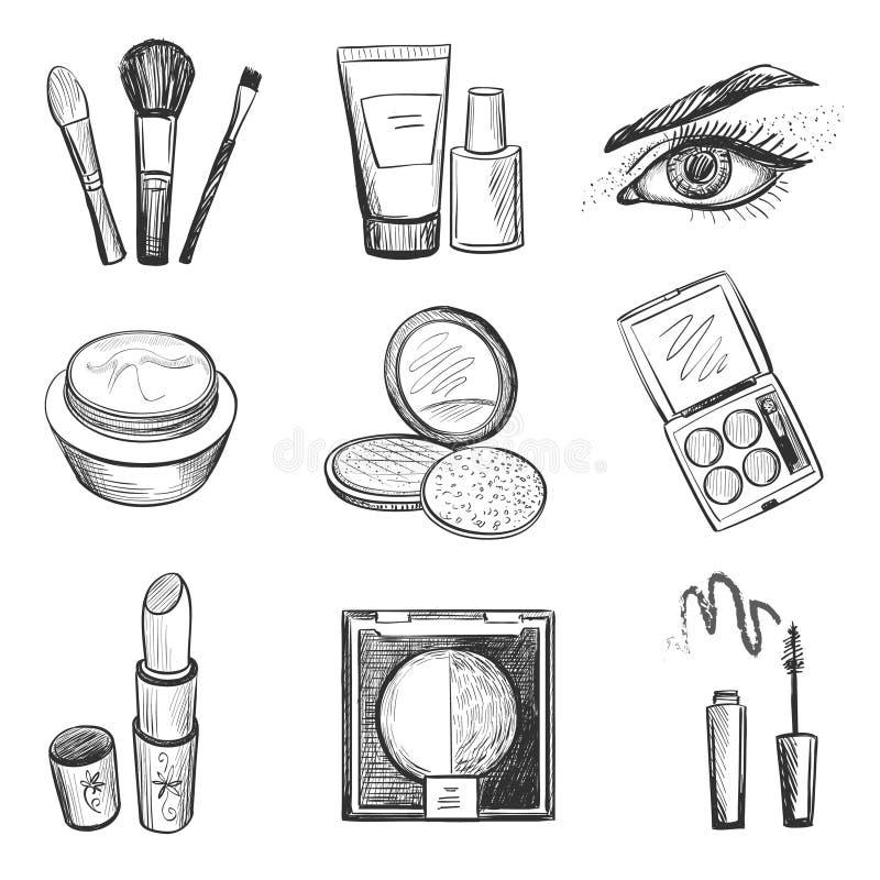 Iconos dibujados mano del maquillaje stock de ilustración
