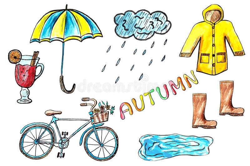 Iconos dibujados mano del otoño de la acuarela ilustración del vector