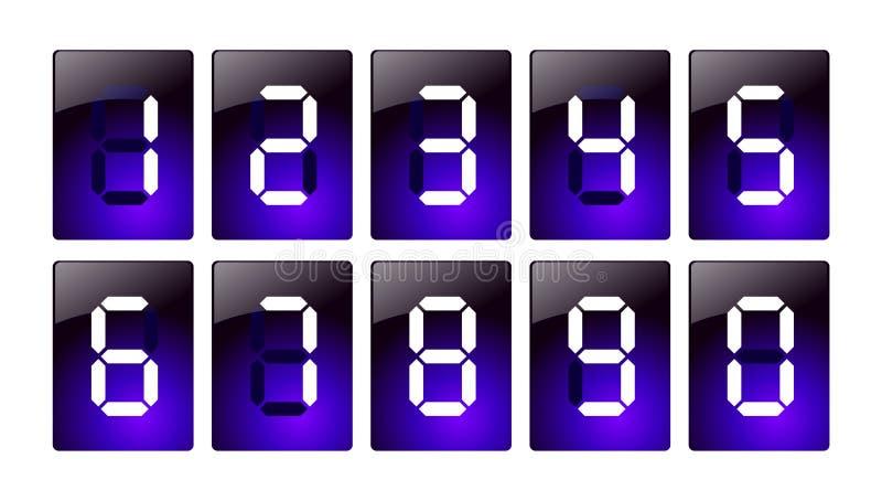 Iconos digitales azules del número ilustración del vector