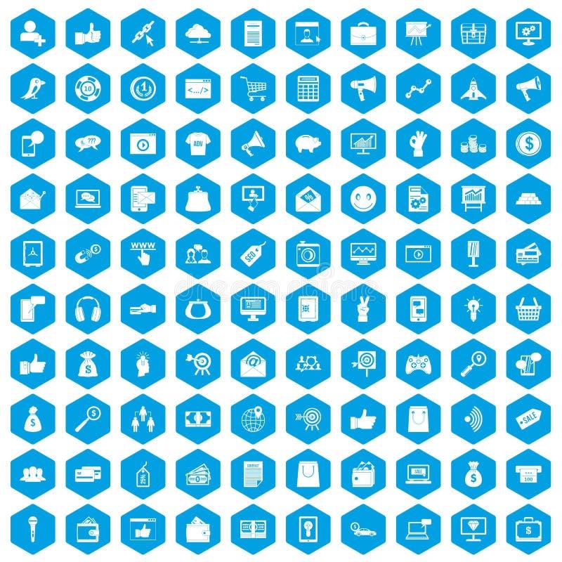 100 iconos digitales del márketing fijados azules stock de ilustración