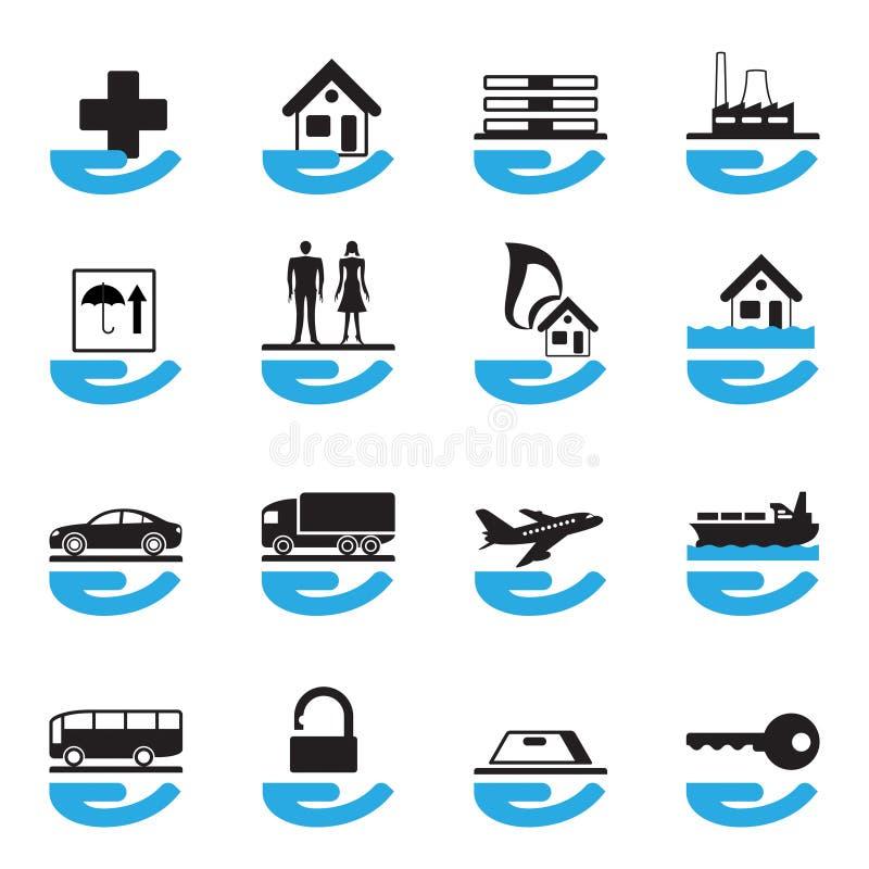 Iconos diversos del seguro fijados stock de ilustración