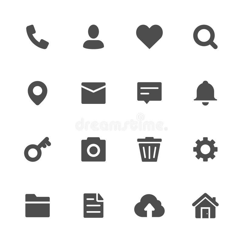 Iconos diversos y de Webflat del gris ilustración del vector