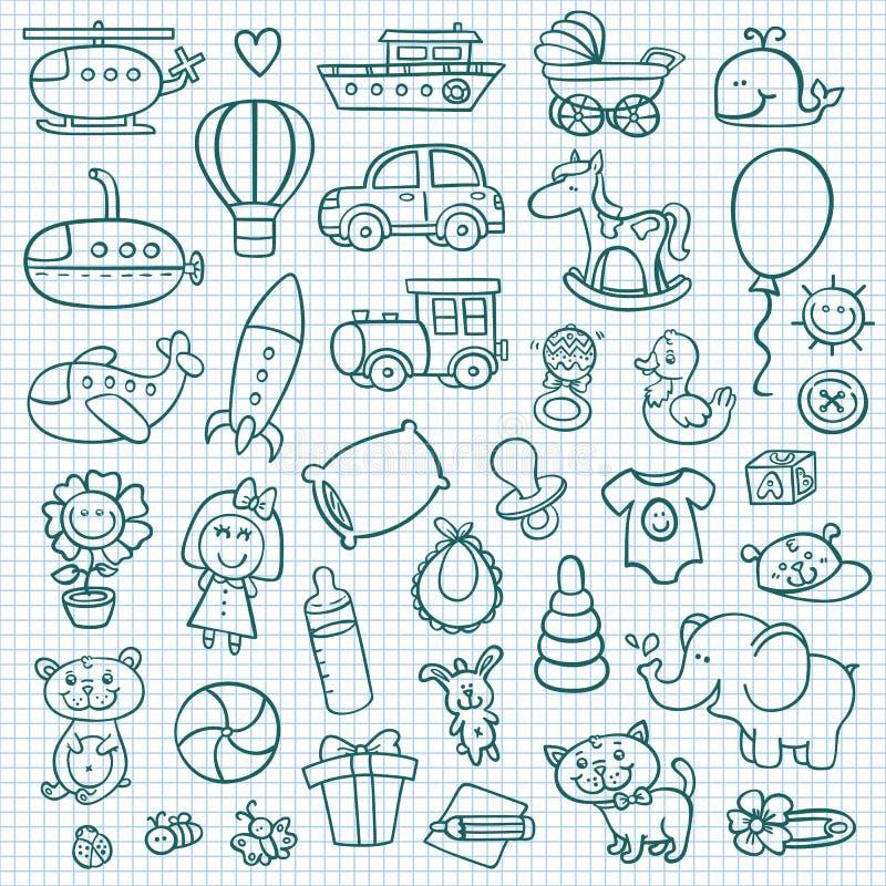 Iconos divertidos del bebé stock de ilustración