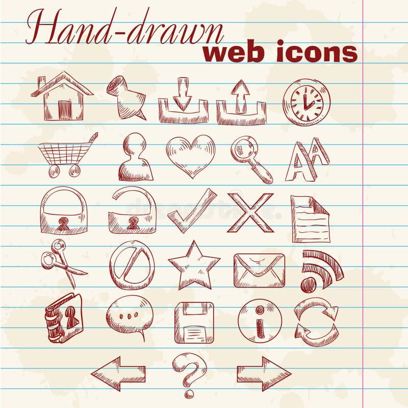 Iconos drenados mano del Web del ordenador stock de ilustración