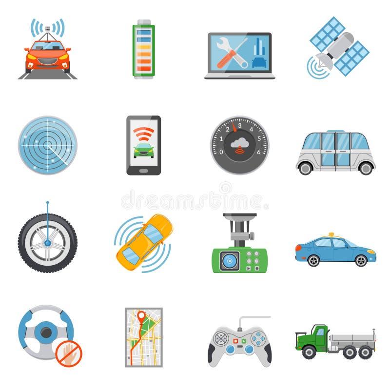 Iconos Driverless del vehículo autónomo del coche fijados libre illustration