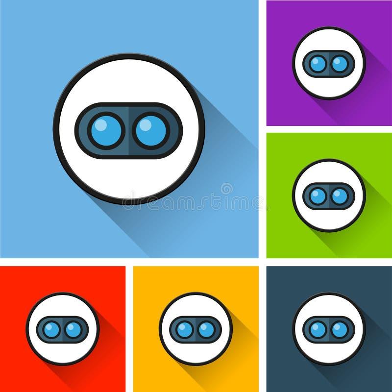 Iconos duales de la cámara con la sombra larga stock de ilustración
