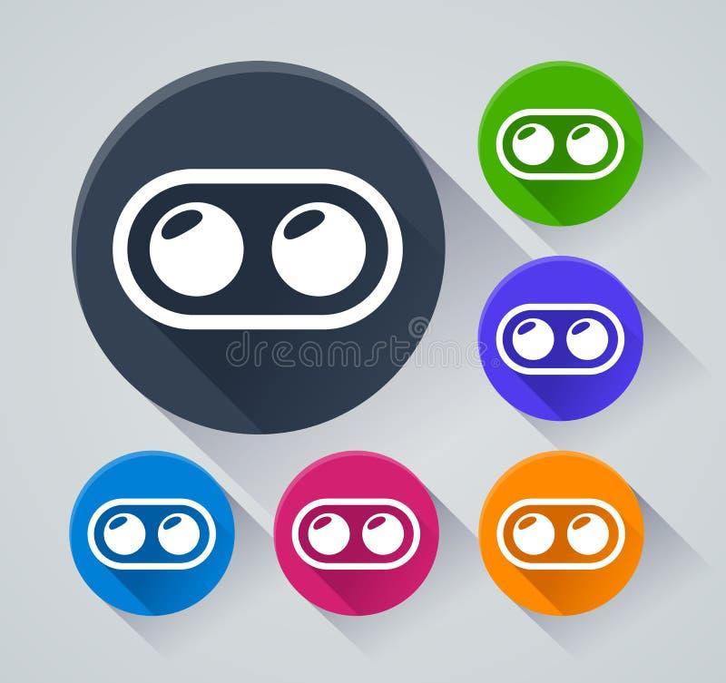 Iconos duales del círculo de la cámara con la sombra stock de ilustración