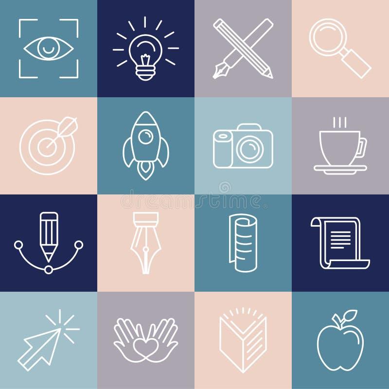 Iconos e insignias del diseñador gráfico de vector en estilo linear libre illustration