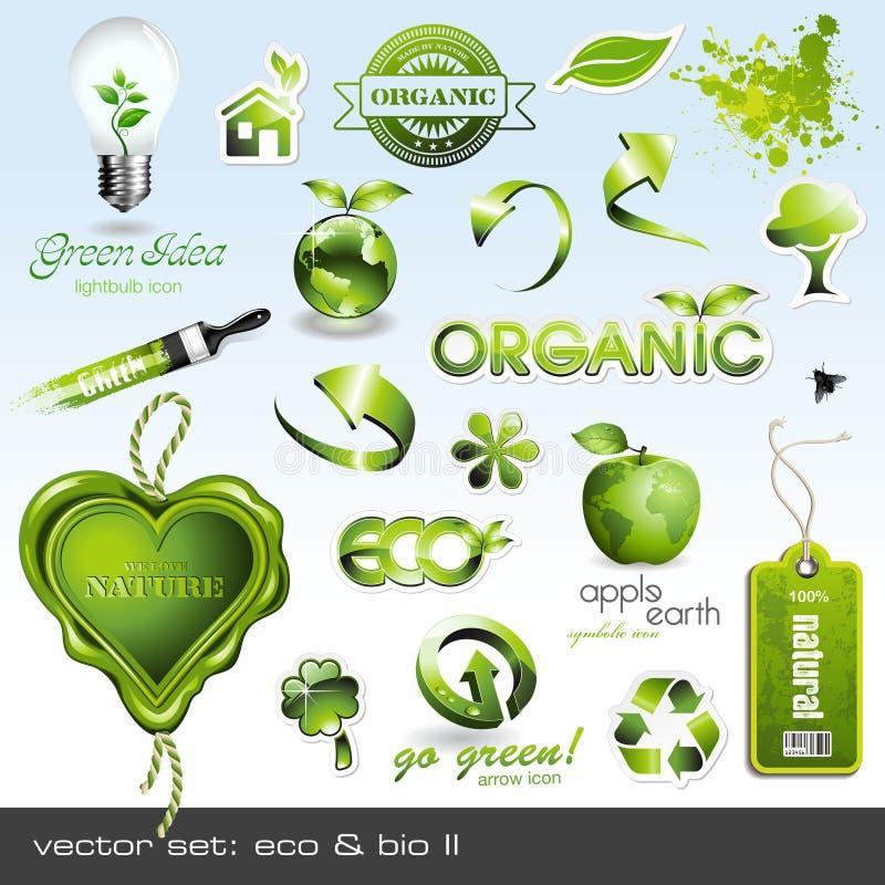 Iconos: eco y bio II stock de ilustración
