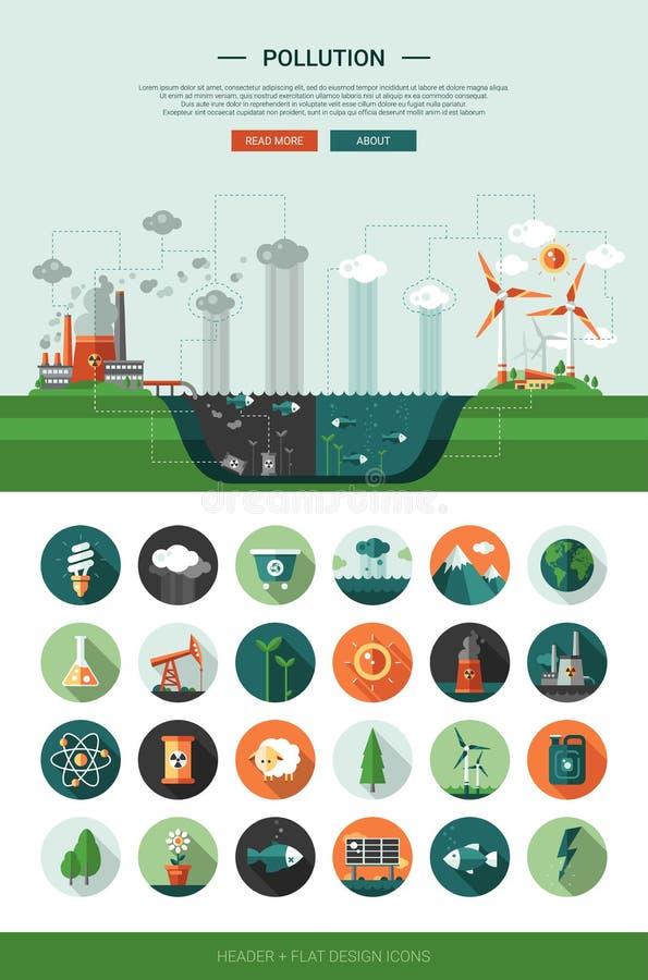 Iconos ecológicos del diseño plano con los elementos del jefe y del infographics stock de ilustración