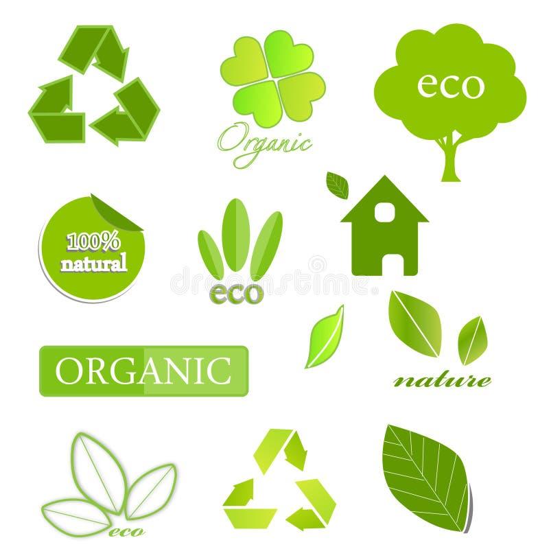 Iconos ecológicos en blanco libre illustration