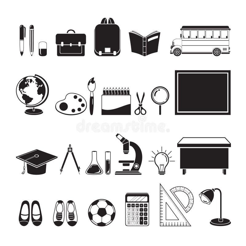 Iconos educativos de los instrumentos fijados, monocromático stock de ilustración