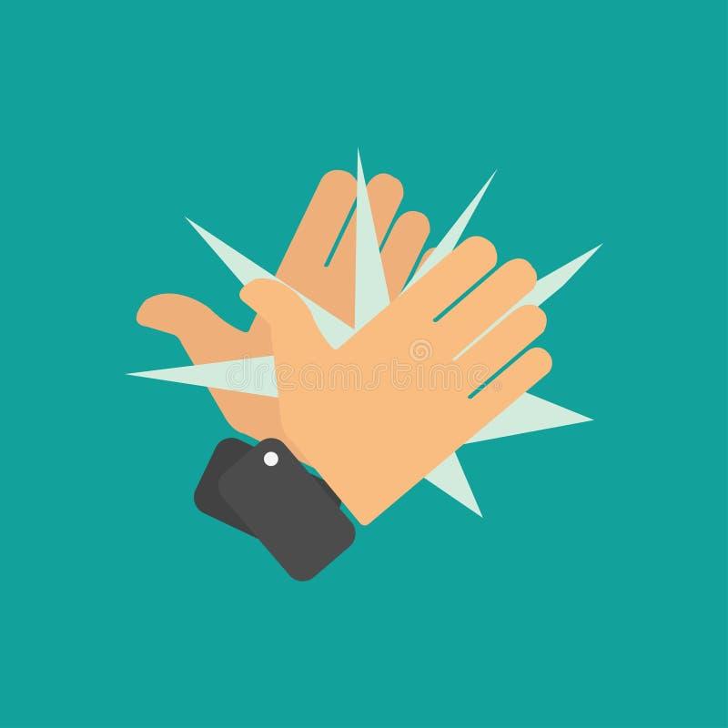 Iconos el aplaudir de manos stock de ilustración