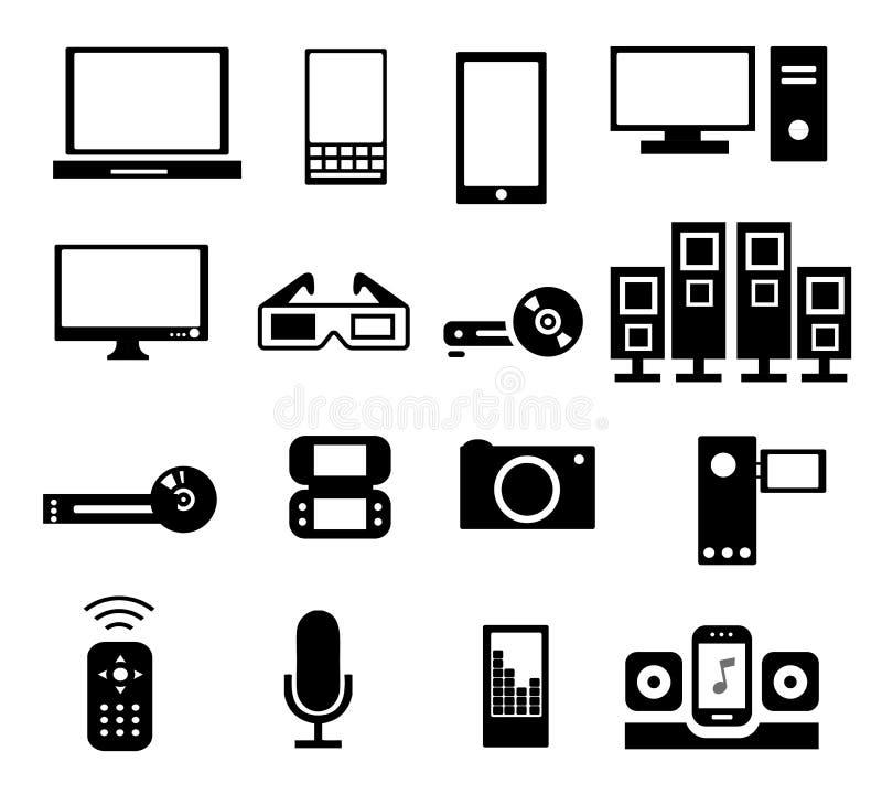 Iconos electrónicos ilustración del vector