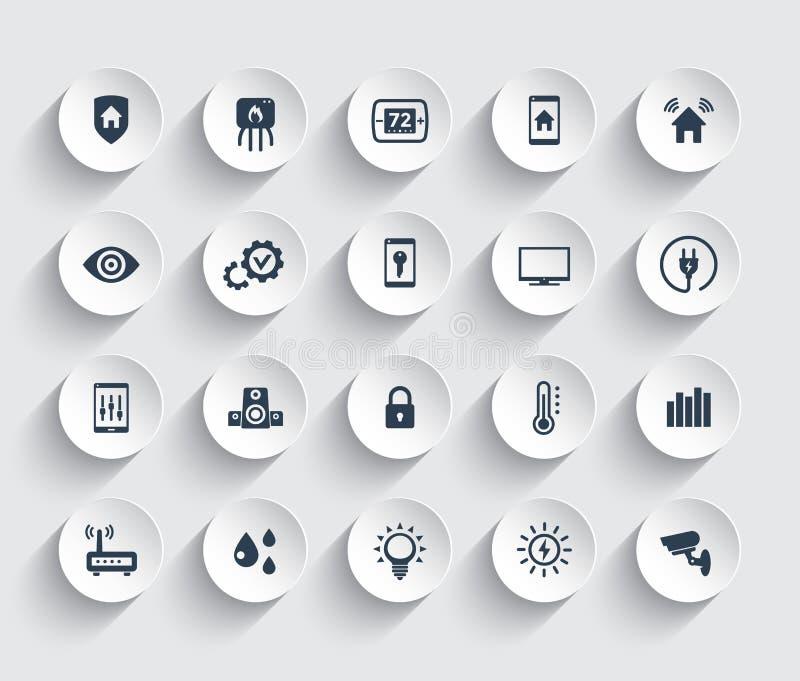 Iconos elegantes del sistema de la automatización de la casa fijados ilustración del vector