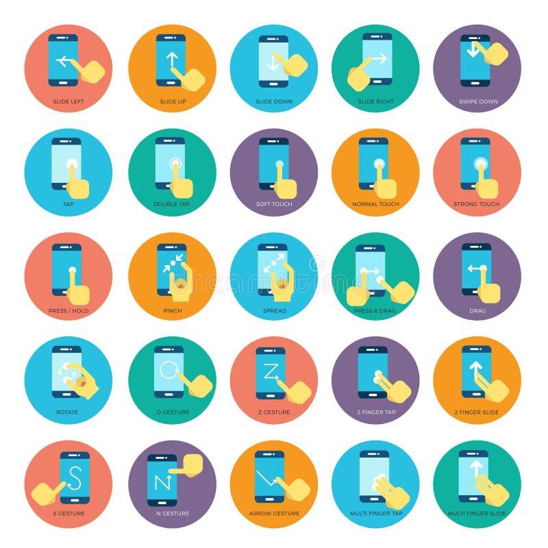 Iconos elegantes planos del vector de los teléfonos del gesto Manos que sostienen smartphone stock de ilustración