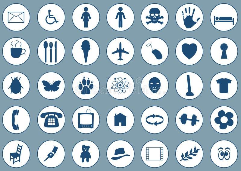 Iconos en azul ilustración del vector