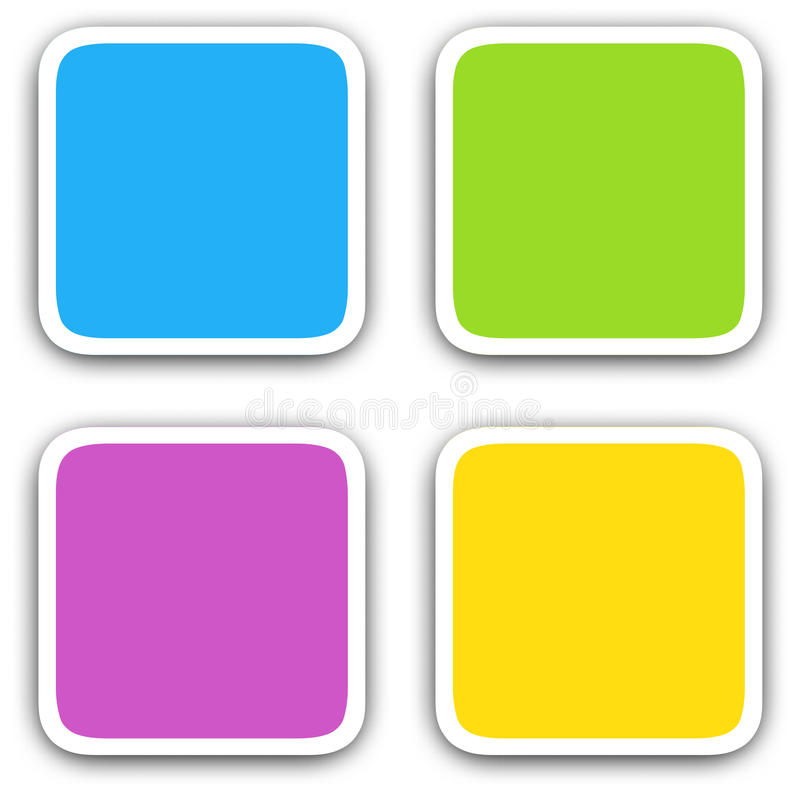 Iconos en blanco cuadrados stock de ilustración