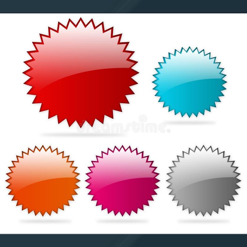 Iconos en blanco de la etiqueta engomada libre illustration