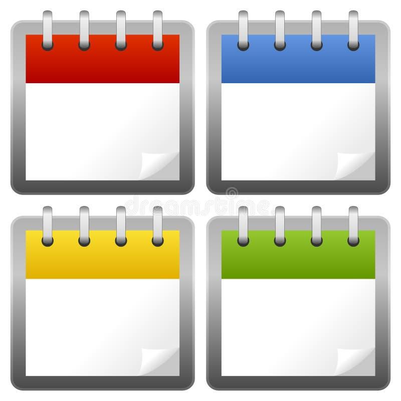 Iconos en blanco del calendario fijados stock de ilustración