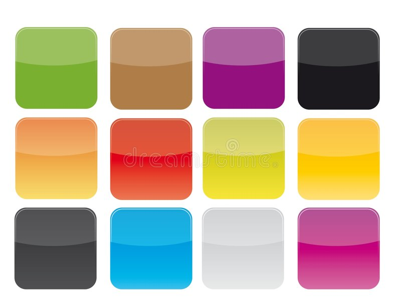 Iconos en blanco fijados imagenes de archivo
