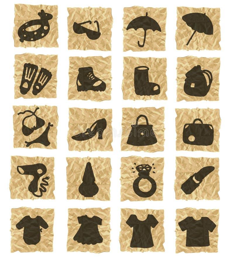 Iconos en el papel arrugado stock de ilustración