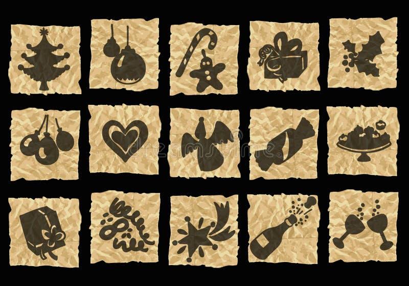Iconos en el papel arrugado ilustración del vector