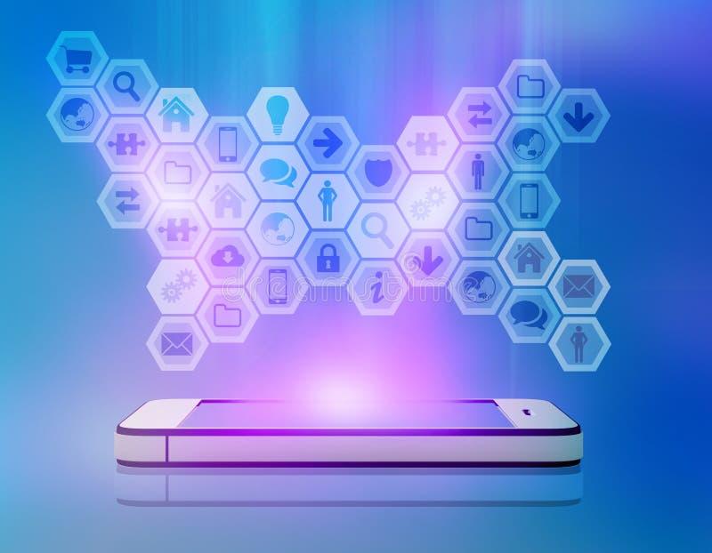 Iconos en el teléfono móvil de la pantalla del resplandor stock de ilustración