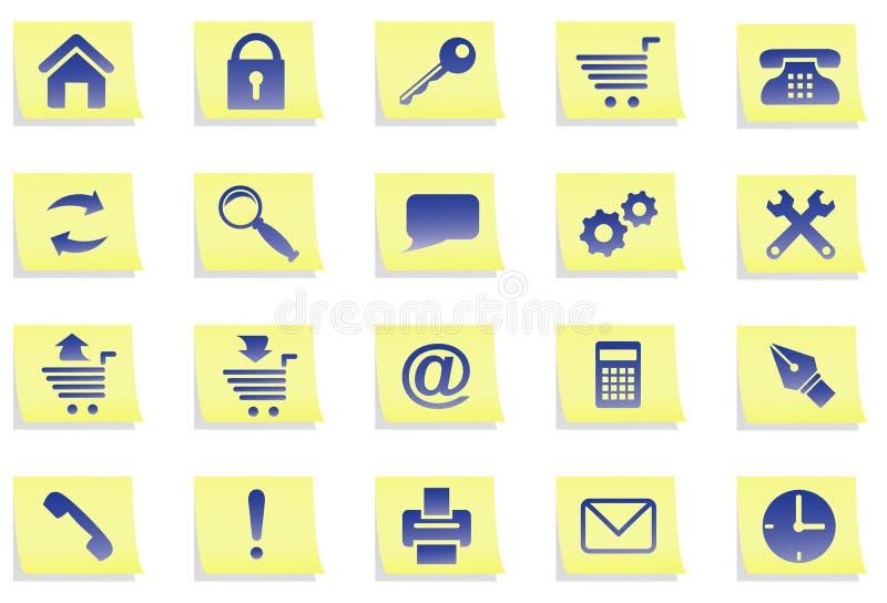 Iconos en etiquetas engomadas. stock de ilustración