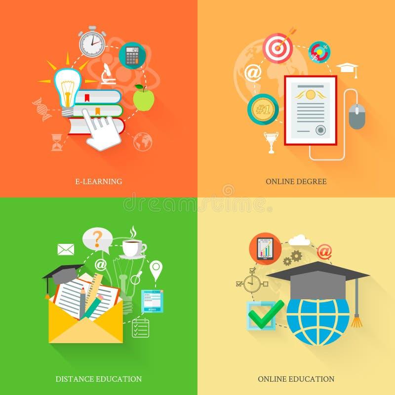 Iconos en línea de la educación stock de ilustración