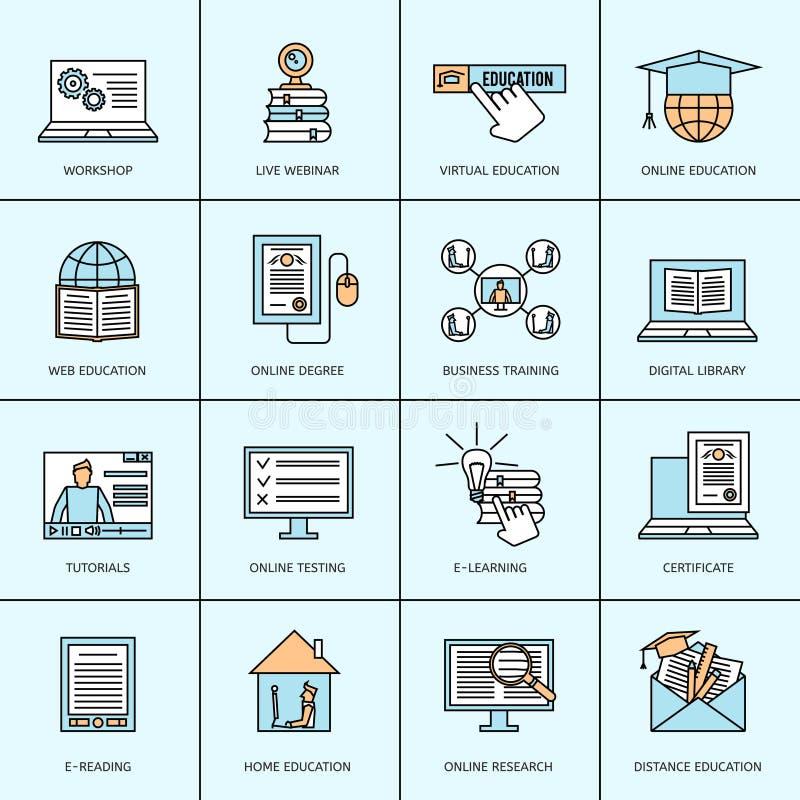 Iconos en línea de la educación fijados libre illustration